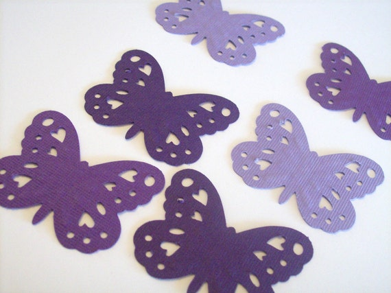 Butterfly confetti - embossed purples, plums, 1 3/4 inch - 100 pieces