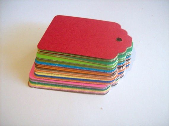 Scalloped gift tags - 1 3/4 x 2 3/4 inch - assorted colors