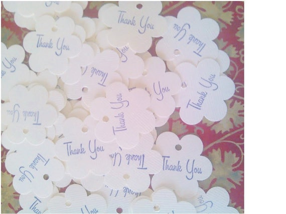 Flower gift tags - Thank You Tag - Set of 50 - Soft White