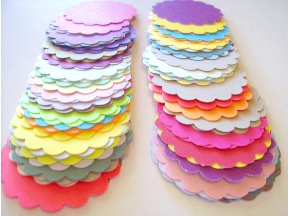 scallop tags - Rainbow variety of 50 - 2 3/4 inch for scrapbooking