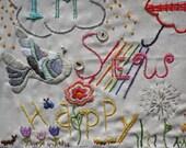 I'm Sew Happy Stitching Sampler Fabric Block