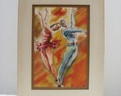 Vintage Bright Watercolor Ballet Couple Dancing (1)