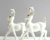 Retro Winter Holiday White and Gold Ceramic Reindeer