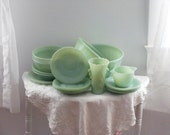 Jadite Jadeite Anchor Hocking Fire King Mint Green Serving Pieces Instant Collection  Alice and Jane Ray Saucers Swirl Mixing Bowls Set