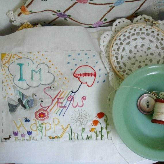 I'm Sew Happy Stitching Sampler printed Fabric Block DIY Embroidery Just Stitch, Ready to Stitch