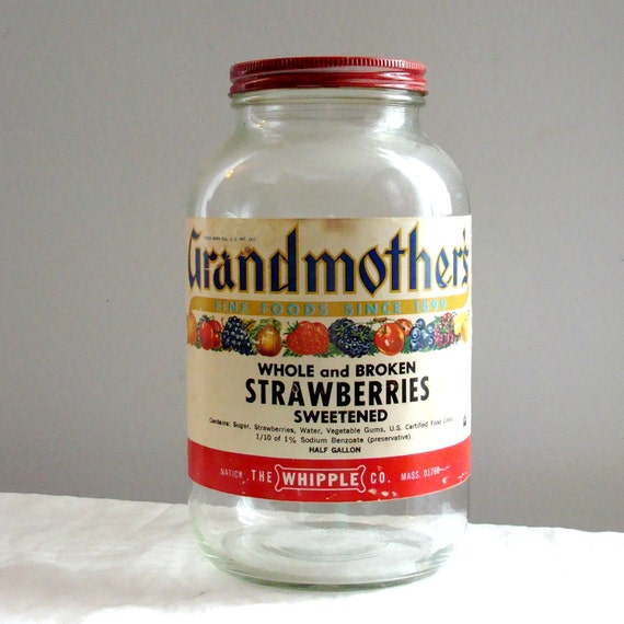 Advertising Original Grandmother's Strawberries Half Gallon Jar from Natick MA