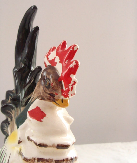Chippy Country Rooster Figurine With Striking Large Tail Feathers and Red Comb