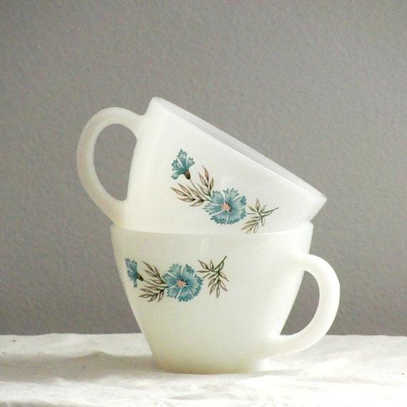 Mid Century Fire King Cornflower Blue Flowers Pattern Design Milk Glass White Teacups Dainty Retro 50s
