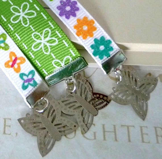 Ribbon Bookmark Trio Set of 3 Book Thongs Full Size Long Bookmarks - Sparkly Butterflies and Flowers