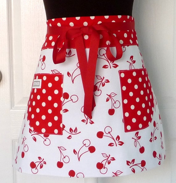 Half Apron, Womens, Red Cherries, Red and White, Chef, Hostess, Party, Kitchen, Apron, Teacher Apron, Polka Dots, Half Apron with Pockets