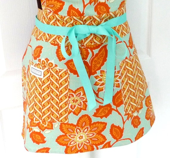Womens Full Apron Adult Chef Hostess Ornate Flowers Orange and Aqua - Heirloom line by Joel Dewberry for Freespirit