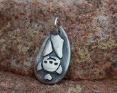 Fine Silver BAT Lover's Charm - Original Pendant by Lollihops Halloween Jewelry