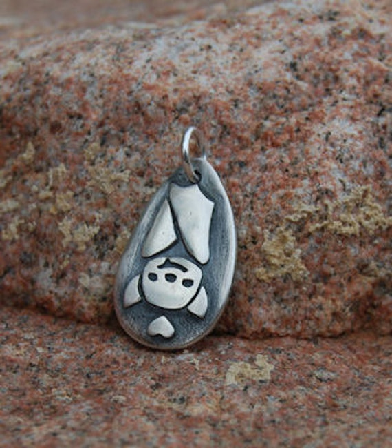 Fine Silver BAT Lover's Charm - Original Pendant by Lollihops Halloween Jewelry