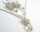 Crystal Silver Teardrop Necklace and Earrings Set