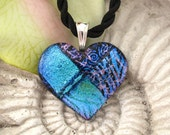 FREE Necklace Loves Blue Fused Dichroic Glass Heart Pendant and Necklace 011411p107