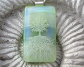 FREE Necklace Large Apple Green Soothing Tree of Life Fused Dichroic Glass Pendant  031711p101