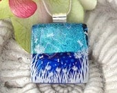 Dragonflies by the Lake Fused Dichroic Glass Pendant and Necklace 04011p107