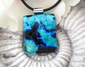 Blue  Color Splash Fused Dichroic Glass Pendant ad Necklace 051611p111