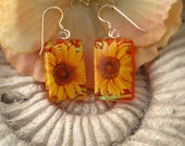 Dichroic Fused Glass Jewelry, Sunflowers Glory Fused Dichroic Glass Earrings 100711e100