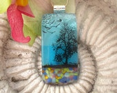 Tree Necklace - Tree Jewelry - Park -  Fused Dichroic  Glass Jewelry - Dichroic Pendant - Dichroic Glass Neckalce - Nature - 121311p106