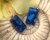 Petite - Cobalt Blue Earrings, , Fused Glass Earrings, Dichroic Glass Earrings, Sterling Silver 121811e100