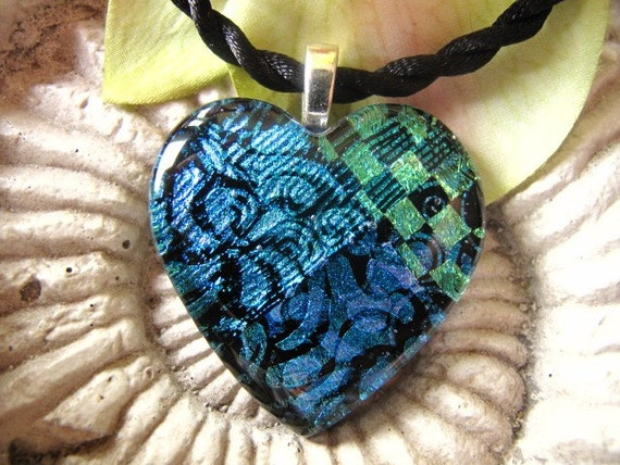 Aqua and Green Bling Fused Dichroic Glass Heart Pendant 012410p107