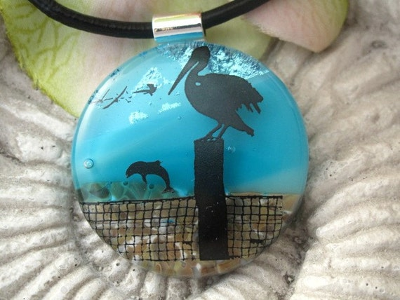 End of Day at the Beach Fused Dichroic Glass Pendant and Necklace 082010p101