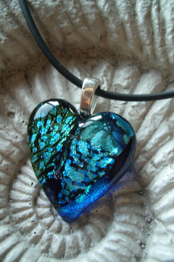 Teal Aqua and Blue Delight Fused Dichroic Glass Heart Pendant 012308p105