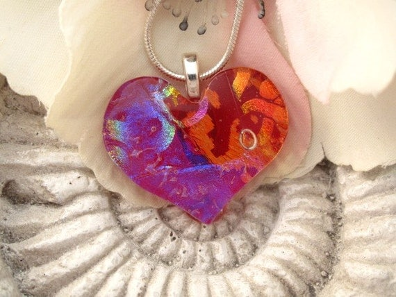 Red  Love - Dichroic Fused Glass Pendant -  Dichroic Fused  Glass Jewelry -  Heart Pendant Necklace 020512p104