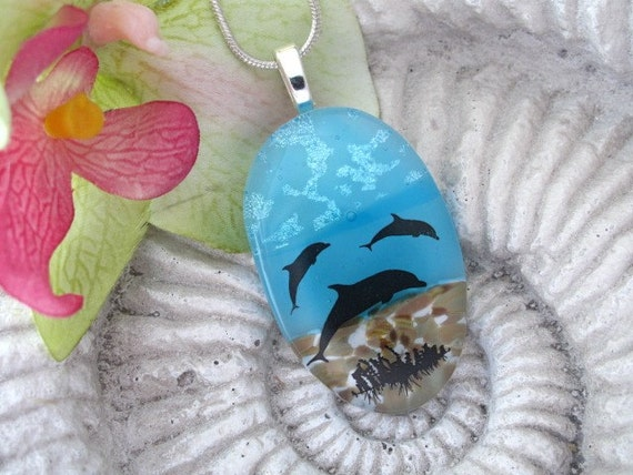 Dolphin - Dichroic Pendant - Dichroic Fused Glass Jewelry - Dichroic Necklace 041611p114