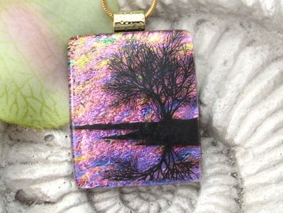Sunset Reflection Tree Fused Dichroic Glass Pendant and Necklace 061811p107