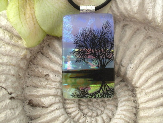 Dichroic Fused Glass Jewelry -  Reflection Tree - Pendant - Dichroic Glass,  - Nature, Tree of Life ,101211p123