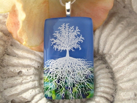 Fused Glass Jewelry - Tree of Life - Fused Glass Pendant - Dichroic Glass Pendant - Necklace  102411p105