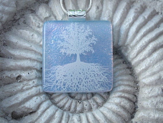 Dichroic Fused Glass Jewelry, Tree of Life Fused Dichroic Glass Pendant and Necklace 103011p102