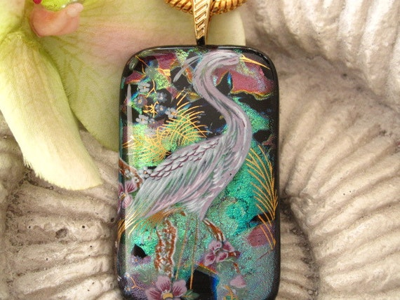 Reserved for a Customer Exotic Bird, Dichroic Fused Glass Jewelry -Dichroic Glass Pendant - Necklace Egret 103111p104