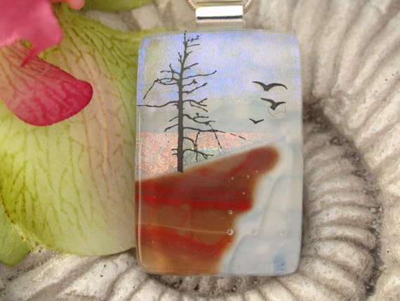 Dichroic Fused Glass Jewelry -  Barren Tree - Pendant - Dichroic Glass 060812p103