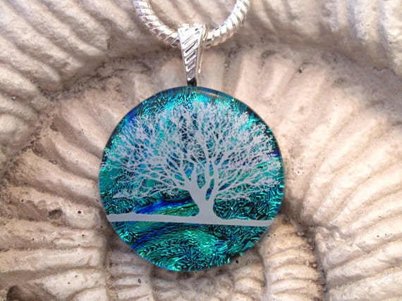 Horizon Tree, Fused Glass Pendant, Dichroic  Fused Glass Jewelry - Fused Dichroic Pendant - Fused Glass Necklace - Blue Tree -121411p100a