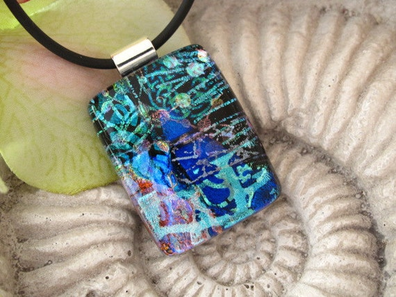Blue Necklace - Dichroic Jewelry - Dichroic Necklace - Cobalt Blue - Aqua -  Fused Glass Jewelry ce  122811p105