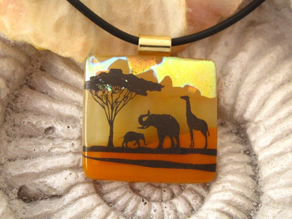 New Giraffe Elephant  Safari - Dichroic Fused Glass Jewelry - Dichroic Glass Pendant - Necklace 123111p101