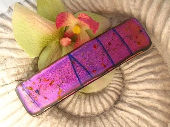 Hair Barrette - French Barrette - Fused Glass Barrette - Hot Pink - Dichroic Glass Barrette - Fused Glass Jewelry 011210b107