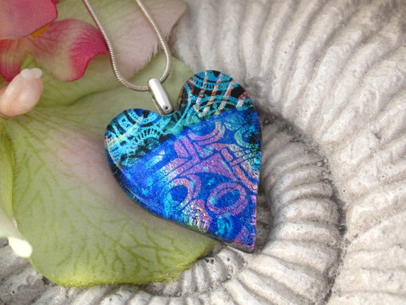 Dichroic Glass Pendant Heart - Dichroic Heart - Fused Glass Pendant - Fused Glass Jewelry -  Fused Dichroic Glass Jewelry  011712p106