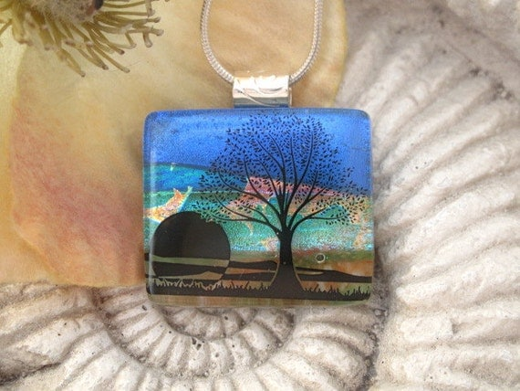Sunset Tree - Dichroic Fused Glass Jewelry - Dichroic Pendant -  Fused Dichroic Glass Necklace  012612p107