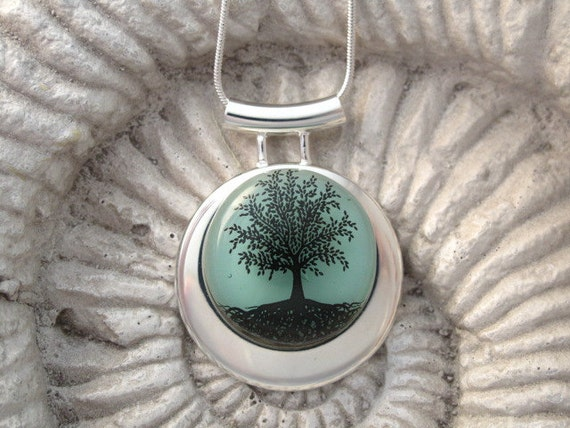 Tree of Life Necklace  -Dichroic Glass Jewelry - Tree of Life Jewelry  - Fused Glass Jewelry - Necklace 121712p107