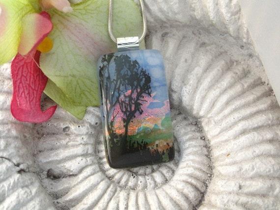 Dichroic Glass Pendant - Dichroic Fused Glass Jewelry -  Sunset Tree - Pendant - 021412p103