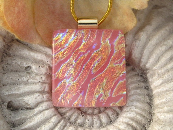 Dichroic Glass Pendant - Pink Coral - Dichroic Fused Glass Jewelry - Necklace 021512p102