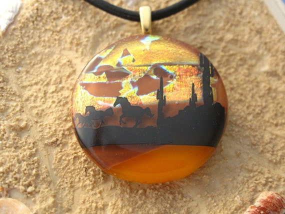 Dichroic Fused Glass Jewelry - Horse Pendant - Sunset Desert - Fused Dichroic Glass Pendant & Necklace 022912p103