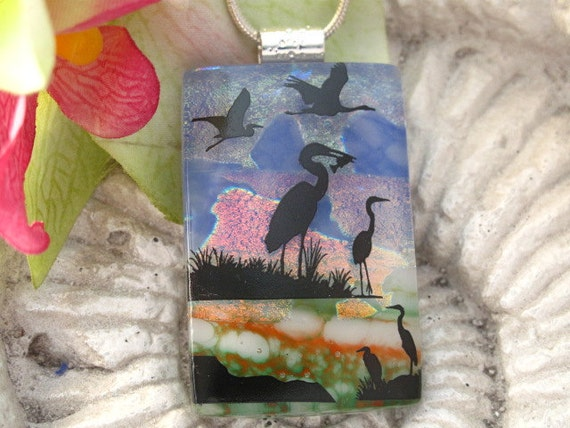 Heron Crane Necklace - Dichroic Fused Glass Jewelry -  Dichroic Glass Pendant -  Necklace - Bird 022912p108