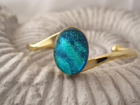 Dichroic Fused Glass Jewelry - Dichroic Glass Bracelet - Fused Glass - Gold  Plated Bangle Bracelet - Fused Glass Jewelry 031012b100