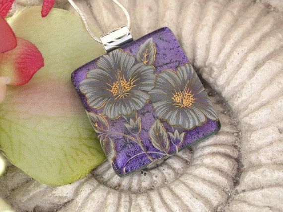 Purple Hibiscus Necklace - Fused Dichroic Glass Jewelry - Fused Dichroic Glass Pendant Necklace 031412p119