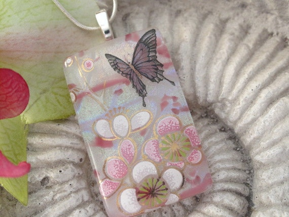 Dichroic Glass Pendant - Butterfly  - Fused Dichroic Glass Jewelry -  Necklace - Sarahs Garden-  031912p104